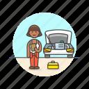 automobile, car, fix, mechanic, road, transportation, vehicle, woman icon