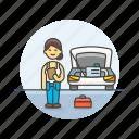 automobile, car, check, fix, mechanic, road, transportation, woman icon