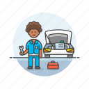 african, american, car, fixing, male, mechanic, road, transportation icon