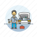 asian, car, fixing, male, mechanic, road, transportation icon