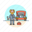 car, caucasian, fixing, male, mechanic, road, transportation icon