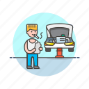 automobile, car, check, fix, inspector, mechanic, road, transportation icon