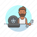 man, mechanic, road, spanner, tire, transportation, wheel icon
