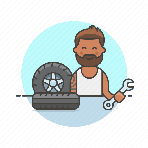 man, mechanic, road, spanner, tire, transportation, wheel icon