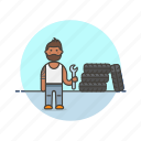 african, american, male, mechanic, road, transportation icon