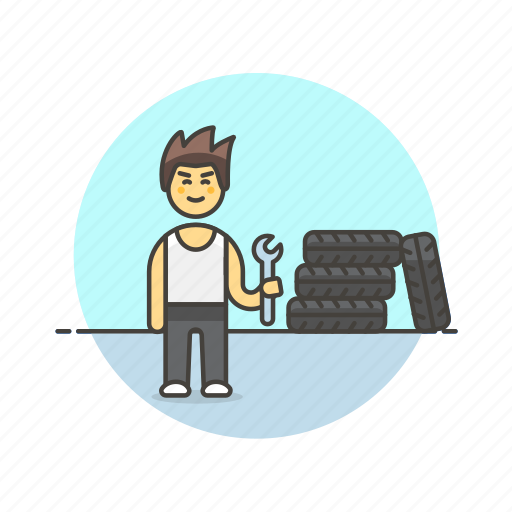 change, fix, man, mechanic, road, spanner, tire, transportation icon