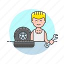 car, change, mechanic, road, spanner, tire, transportation, wheel icon