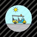 golf, road, sun, thailand, transportation, travel, tuktuk, vehicle icon