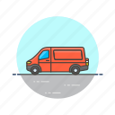 delivery, red, road, transportation, van, vehicle icon