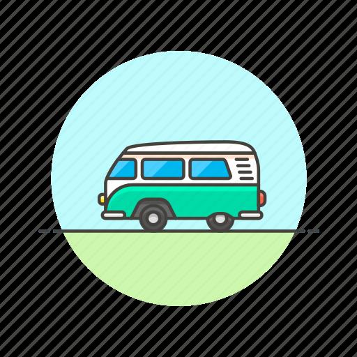 hippie, road, transportation, travel, van, vehicle icon
