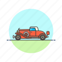 automobile, car, red, road, transportation, vehicle, vintage icon