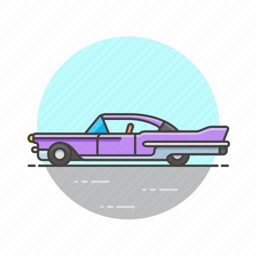 automobile, car, purple, road, transportation, vehicle, vintage icon