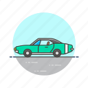 automobile, car, green, road, transportation, vehicle, vintage icon