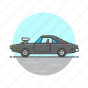 automobile, car, racing, road, transportation, vintage icon