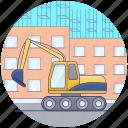 construction crane, crane machine, excavator, industrial, industrial crane, lifting icon