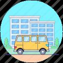 local transport, minibus, minivan transport, passenger wagon, public transport icon