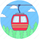 aircraft, cable transport, chair lift, electric gondola, electronic chairlift, ski lift icon