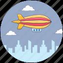 adventure, aircraft, fire airship, parachute balloon, propelling ballon, zeppelin icon