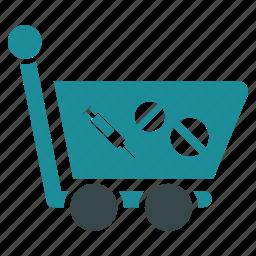 drug, health, medical, medicine, shop, shopping cart, store icon