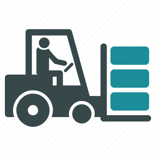 cargo, delivery, fork lift truck, logistics, shipping, transportation, warehouse icon