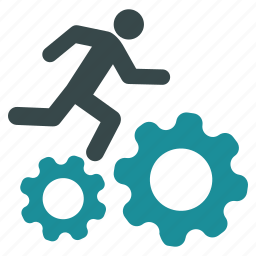 concurrence, courier, gears, man, run, runner, running icon