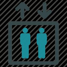 elevator, lift, men, movement, passengers, people, transportation icon
