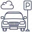 car, parking, sign, lot icon