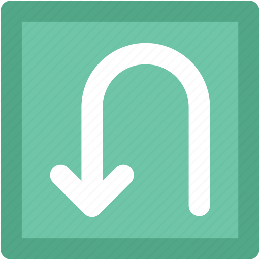 direction arrow, road sign, traffic sign, u shape arrow, u turn icon
