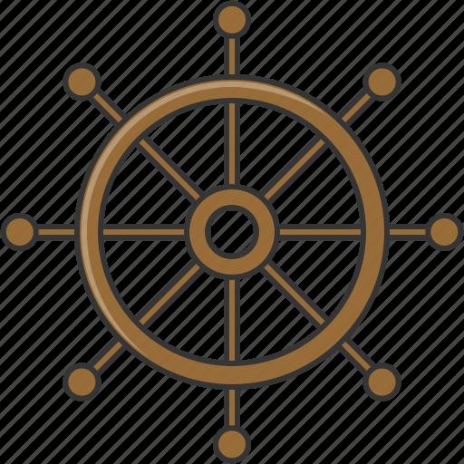 boat, ship, summer, wheel icon