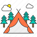 camping, cloud, nature, outdoor, sun, tent, trees icon