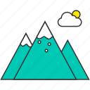 cloud, mountain, nature, snow, sun icon