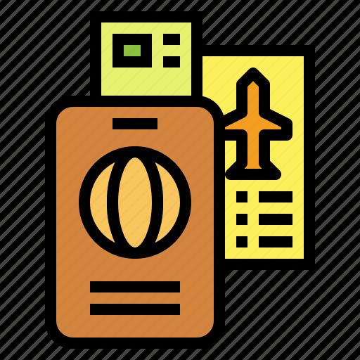 boarding, card, pass, passport, travel icon