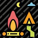 bonfire, campfire, camping, flame, tent
