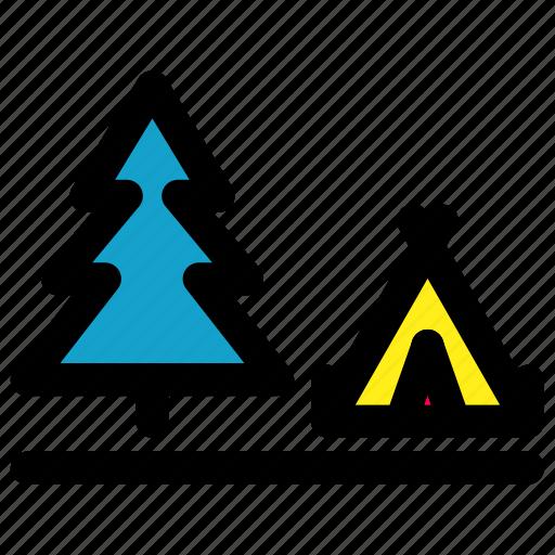Camp, forrest, land, tree icon - Download on Iconfinder
