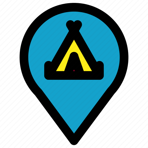 camp, location, pin, position icon