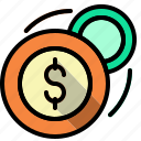 cash, change, coins, money, notes, stack icon