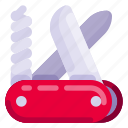 equipment, holiday, knife, outdoor, swiss, travel, vacation icon