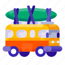 beach, holiday, sport, surfing, travel, vacation, van icon