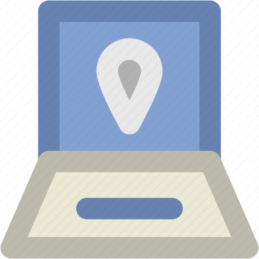 laptop, location finder, map pin, online map, online navigation icon