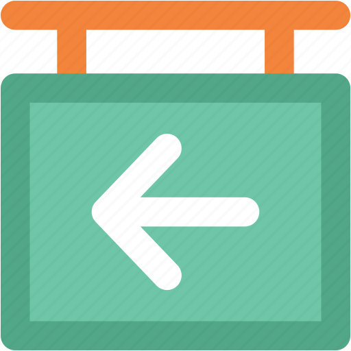 direction sign, directional arrow, hanging sign, info sign, left arrow icon