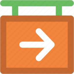 direction sign, directional arrow, hanging sign, info sign, right arrow icon
