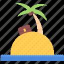 beach, chest, holidays, island, palm, sand, travel icon