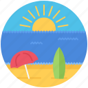 beach, holidays, sand, sun, surfboard, travel, umbrella icon