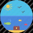 bird, fish, holidays, sun, travel, undersea, water icon