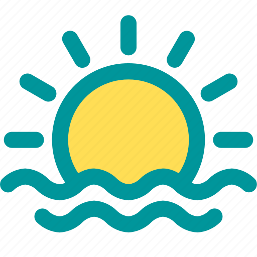 beach, sea, sun, sunrise, sunset icon