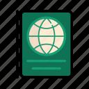 .svg, green, passport, travel, world icon