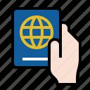 hand, passport, travel icon