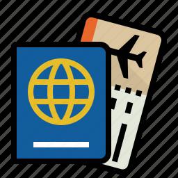 boarding, pass, passport, travel icon