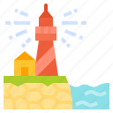 lighthouse, security, tower, warning, signaling, signal icon