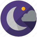 cloud, holiday, moon, night, travel icon